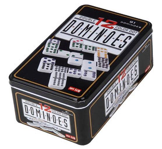 Boite de 91 Dominos Double 12 Couleurs en Boite métal