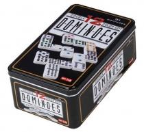 91 Dominos Double 12 Couleurs en Boite métal