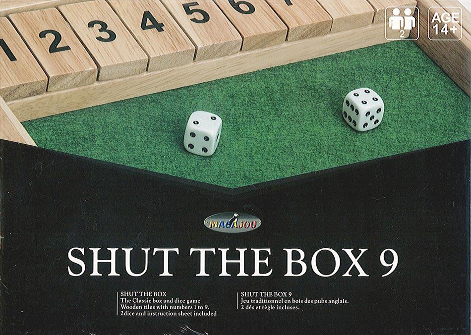 Shut The Box 9 en bois avec 2 dés