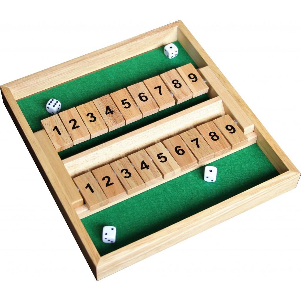 Shut The Box Double 9 en bois avec 4 dés